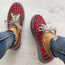 Plaid Lace-Up Platform Sneakers