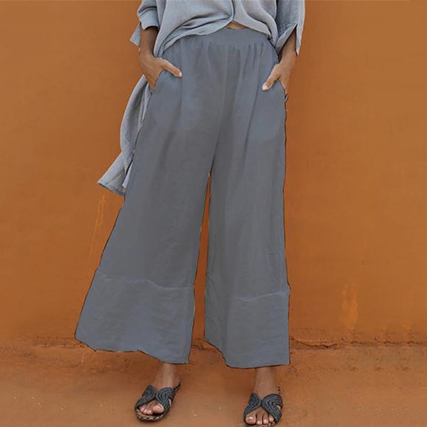 Casual Elastic Waist Cotton Wide Leg Pants