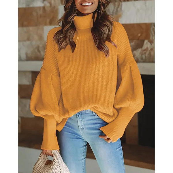 Casual Turtleneck Shift Statement Sweaters