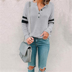 Autumn V-Neck Buttoned Casual T-Shirt