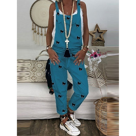 Casual Printed Sleeveless Pocket Jumpsuit