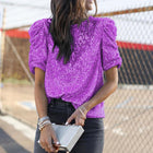 R-neck Sequined Puff Sleeve Blouses