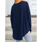 Plus Size Buttoned V Neck Paneled Loose Blouse
