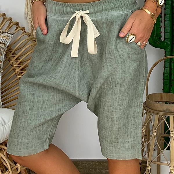 Plus Size Solid Color Elastic Waist Loose Shorts