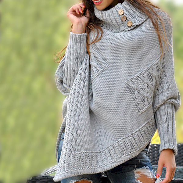 Batwing Sleeve High Neck Women Sweaters