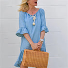Solid Color Half Sleeve Casual Dresses