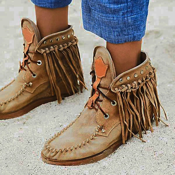 Women's Comfortable Large Size Tassel Boots