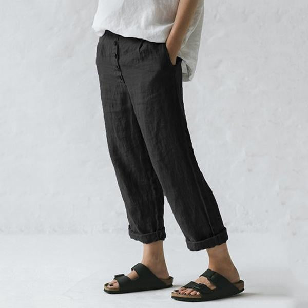 Casual Solid Color Button Loose Pants