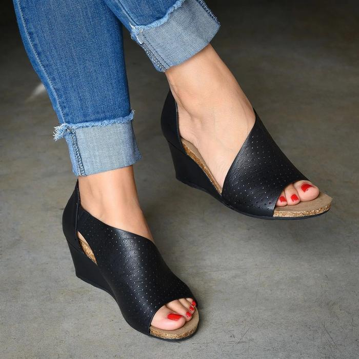 Daily Solid Color Slip On Wedges Sandals