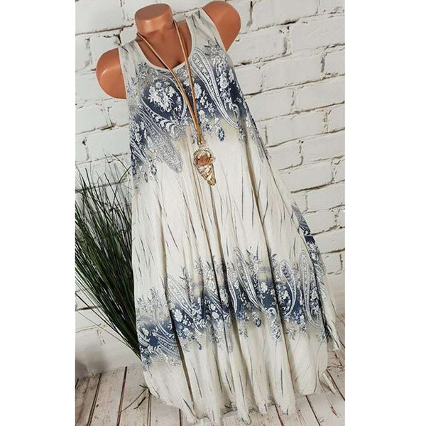 Daily Round Neck Print Sleeveless Dress