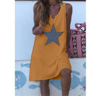 Daily Sleeveless Star Round Neck Dress