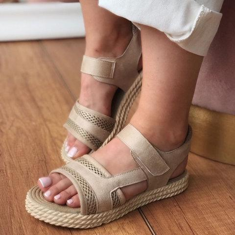 Summer Holiday Velcro Solid Color Sandals
