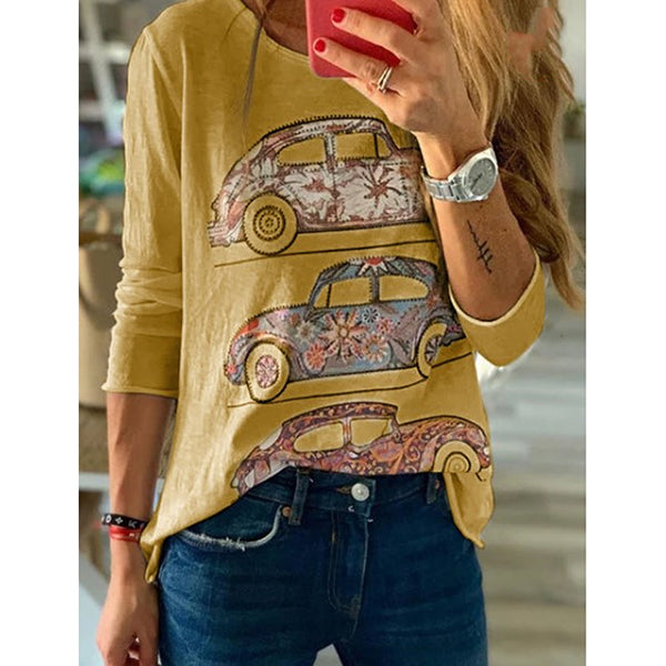 Cartoon Printed Round Neck Long Sleeve T-Shirt