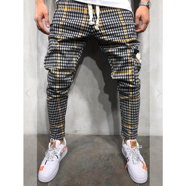 Casual Plaid Elastic Band Long pants