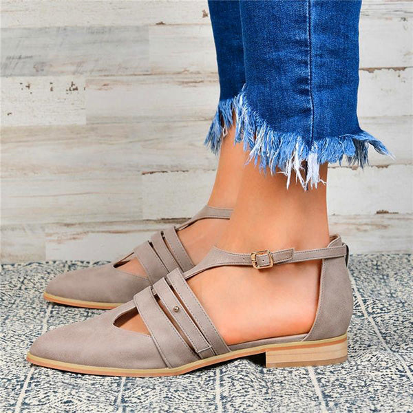 Women Pu Flats Casual Ballerina Sandals