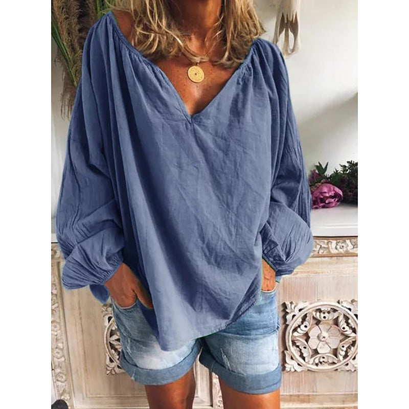 Loose Solid Long Sleeve V Neck Shirts