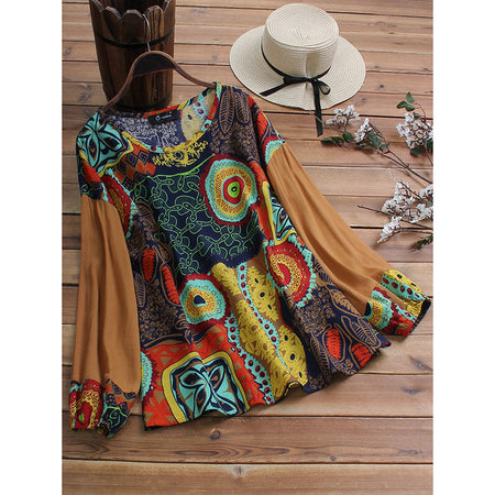 Vintage Ethnic Printed Patchwork Bubble Sleeve Blouse
