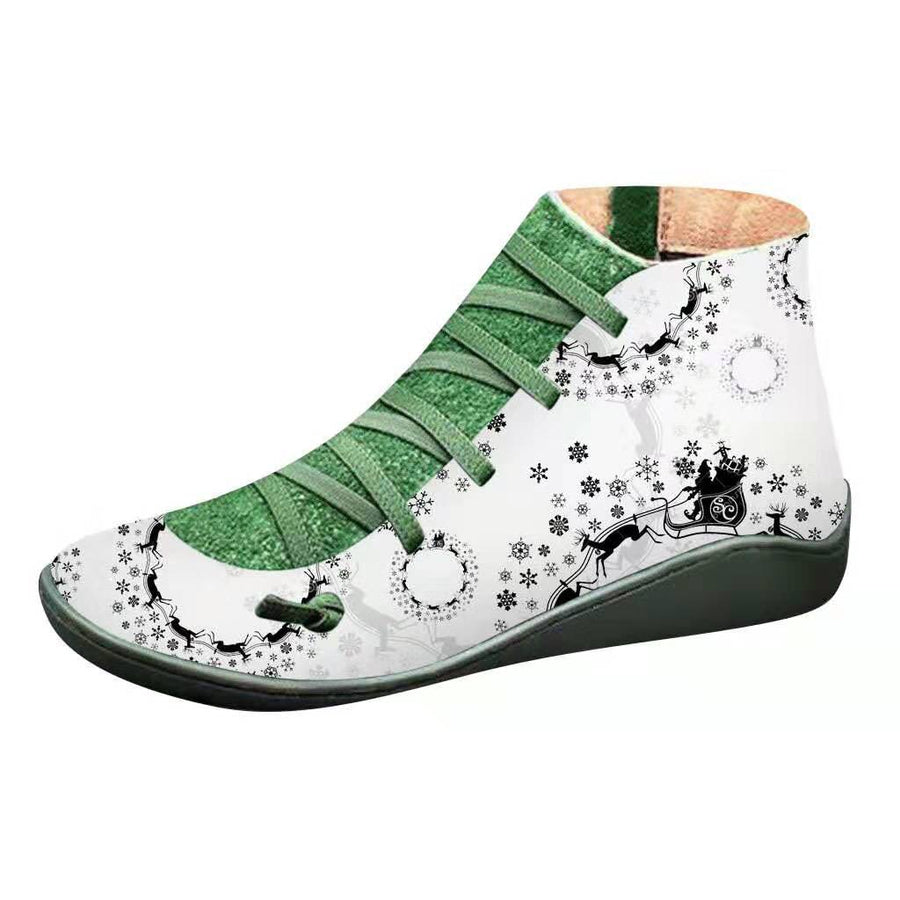 Winter Christmas Printed Flat Boots