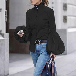 Autumn Fashion Lantern Sleeve Slim Fit Women Blouse