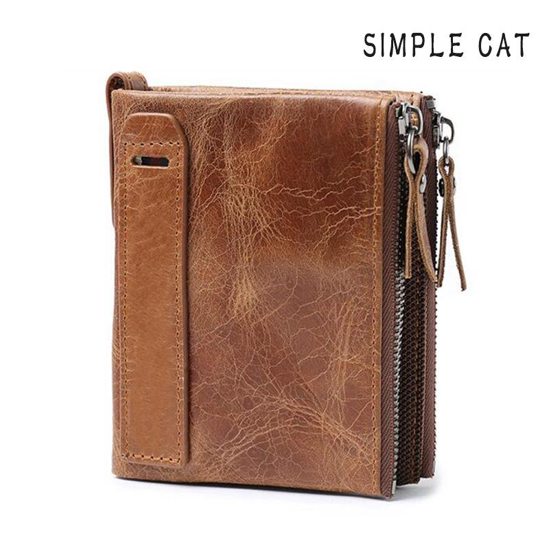 Men Zipper Minimal Wallet Genuine Leather Short Wallet Vintage Coin Bag