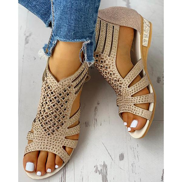 Flat Studded Hollow Out Sandals