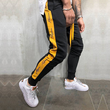 Stitching Color Printed Casual Sport Pants