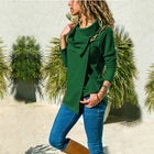 Autumn Lapel Solid Color Long-Sleeved Tops