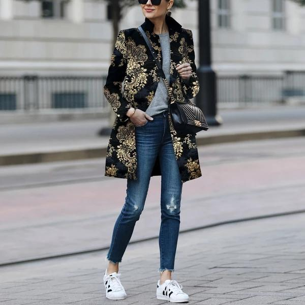 Printed Color Printed Long Sleeve Coat