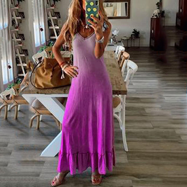 Fashion Gradient Lace Sleeveless Maxi Dress