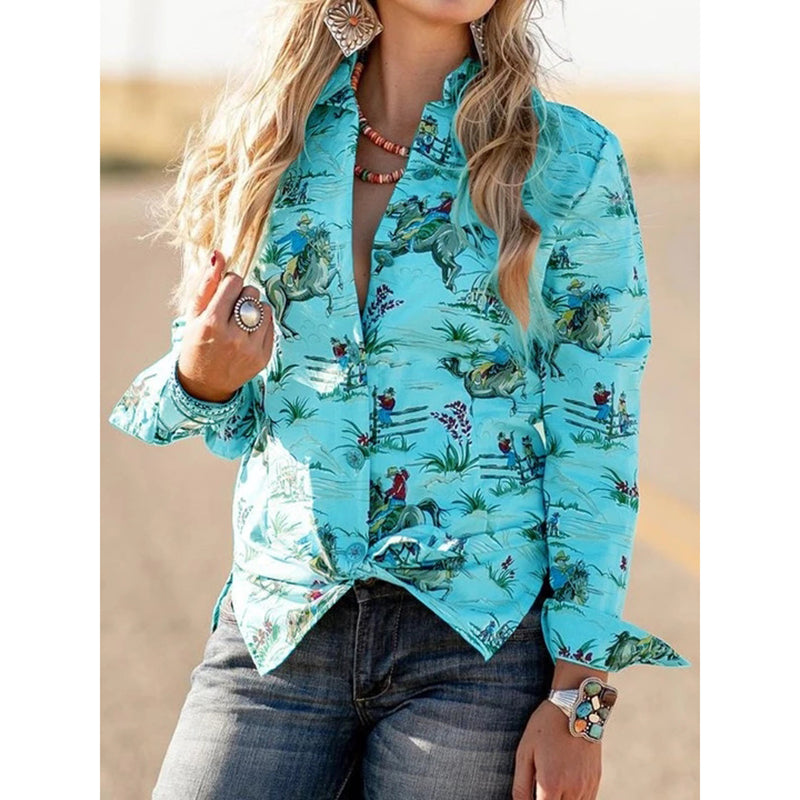 Long Sleeve Printed V-Neck Blouses