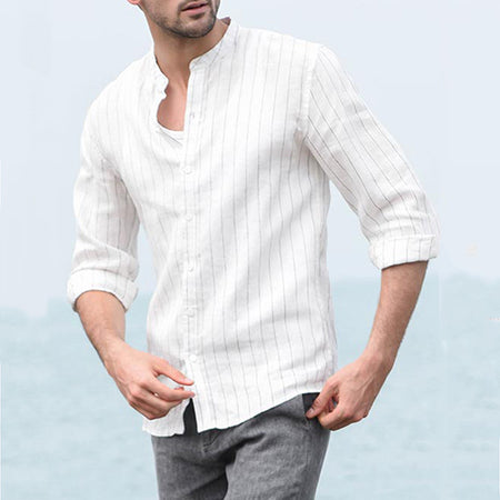 Casual Stand Collar Stripe Shirts