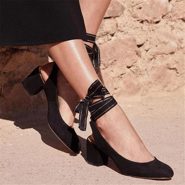 Fashion Suede Lace-Up Low Heel Sandals