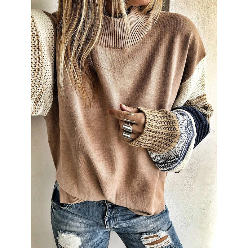Splicing Crew Neck Loose Long Sleeve Sweater