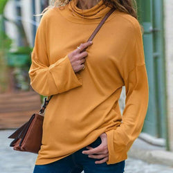 Autumn Solid Color High Collar Long Sleeve T-Shirt