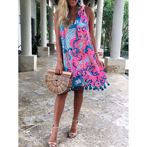Printed Casual Sleeveless Patch Dress