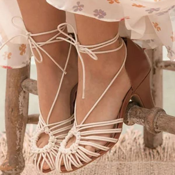 Summer Holiday Hollow Low Heel Sandals