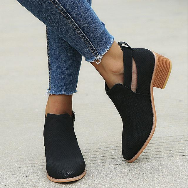 Women Pointed Toe Booties Hollow Out Buckle Sandals