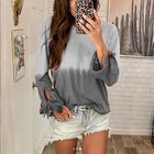 Casual Gradient Long Sleeve Round Neck Tops