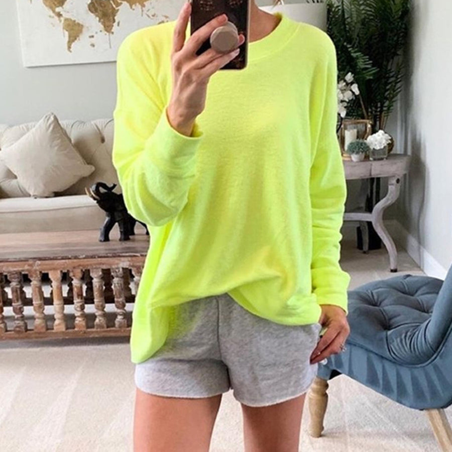 Autumn Loose Solid Color Round Neck Long-Sleeve T-Shirt