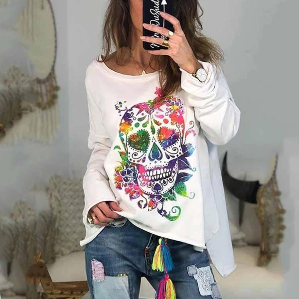 Halloween Print Long Sleeve Pullover Blouse