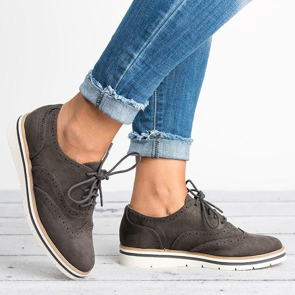 Women Lace Up Perforated Oxfords Shoes