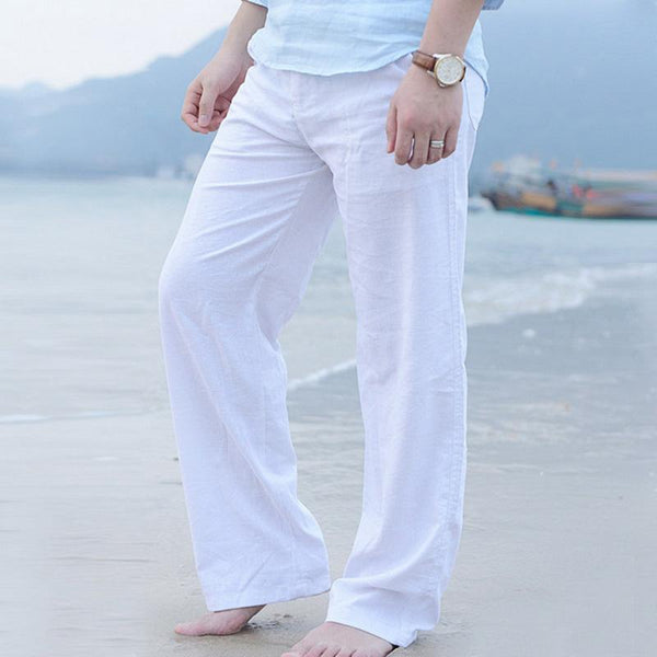 Summer Men Loose Linen Long Casual Comfortable Beach Pants