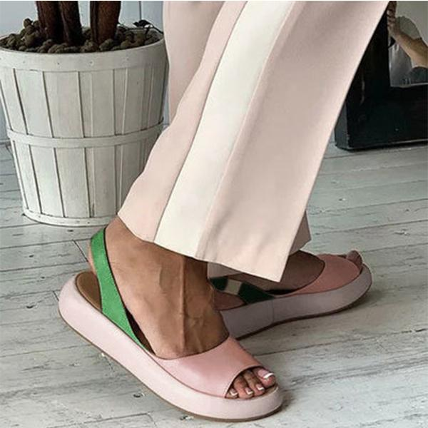 Women's Fashion Color Block Peep Toe Slip-on Sandals