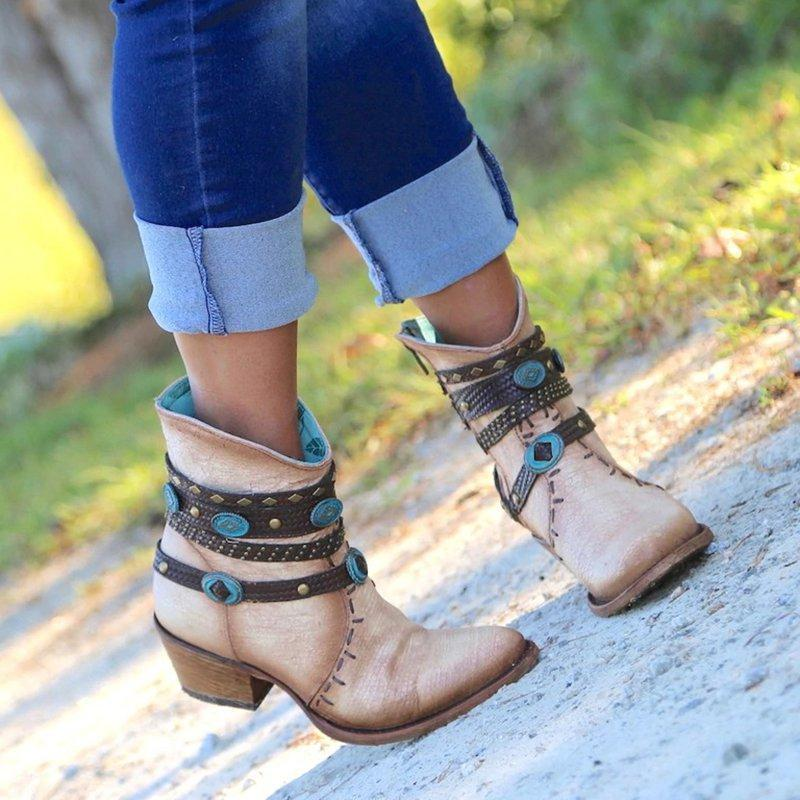 Faux Leather Chain Chunky Heel Boots