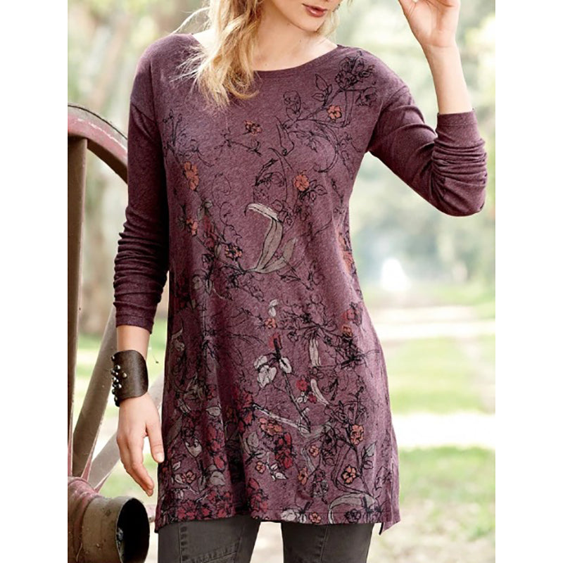 Printed Long Sleeve Vintage Round Neck T-Shirt