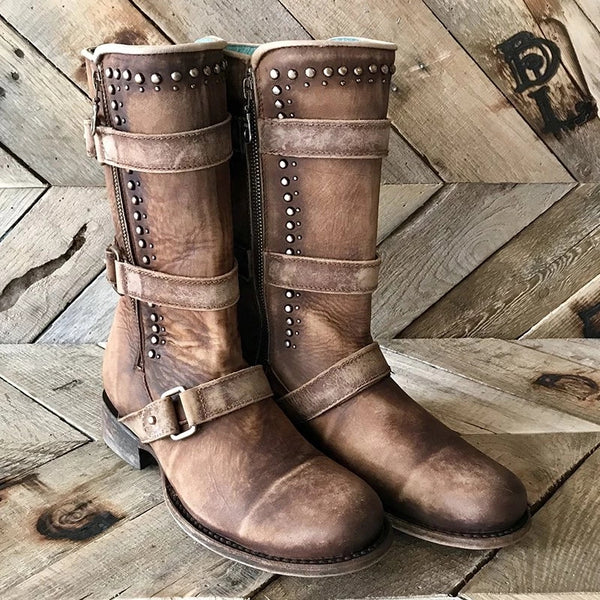 Adjustable Buckle Chunky Heel Boots