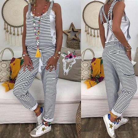 Spaghetti-Strap Casual Striped Jumpsuits