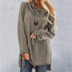 Casual Cowl Neck Plus Size Tops