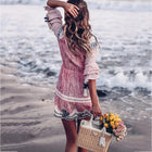 Summer Boho Beach Plaid A-Line Long Sleeve Casual Dress