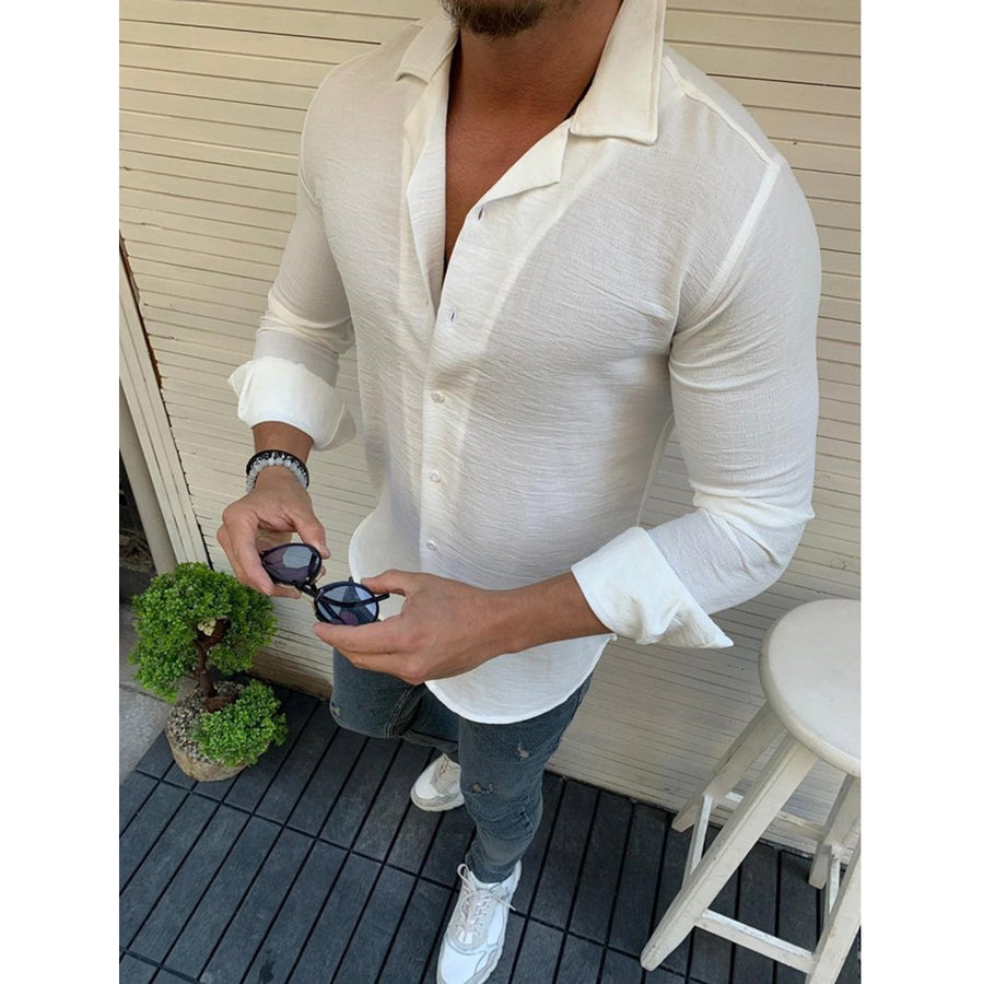 Casual Solid Lapel Long Sleeve Shirt